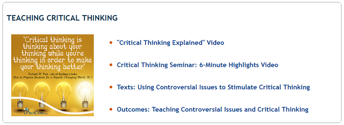 Addressing the Critical Need for Critical Thinking Skills