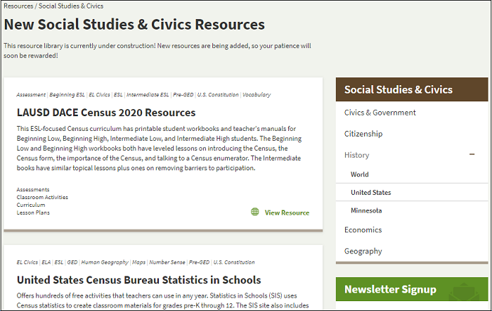 Social Studies & Civics Online Resource Library Is Here!